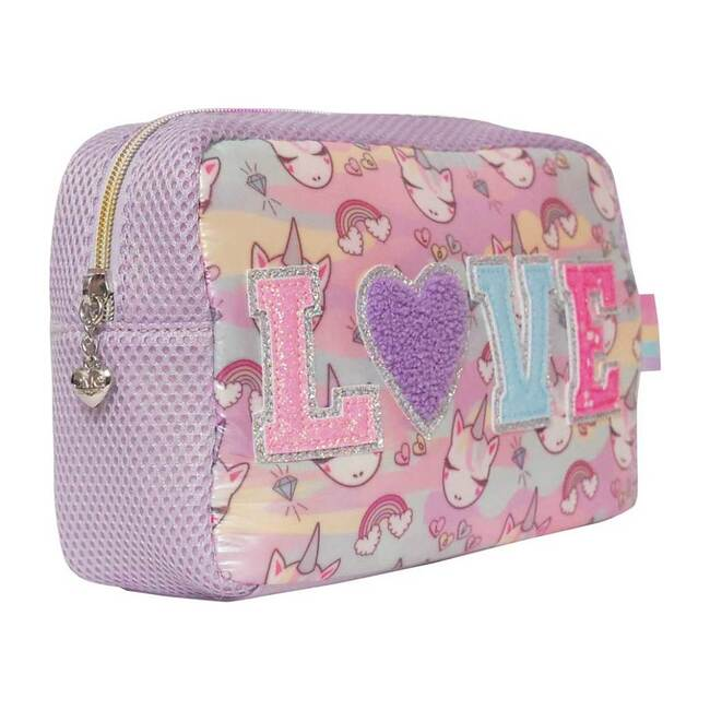 """""""Love"""" Miss Gwen Camo Print Cosmetic Pouch & Sleep Mask Set, Pink"""