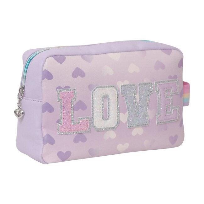 """Love"" Heart Print Lavender Cosmetic Pouch, Lavender"