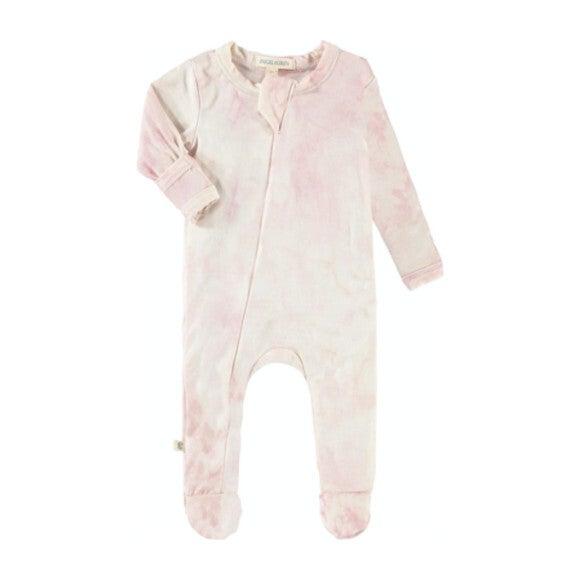 Baby Marble Tie Dye Seamless Footie Romper, Pink