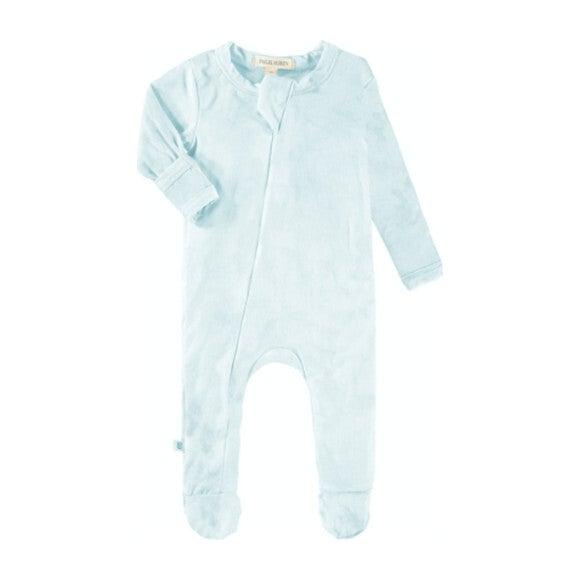 Baby Marble Tie Dye Seamless Footie Romper, Aqua