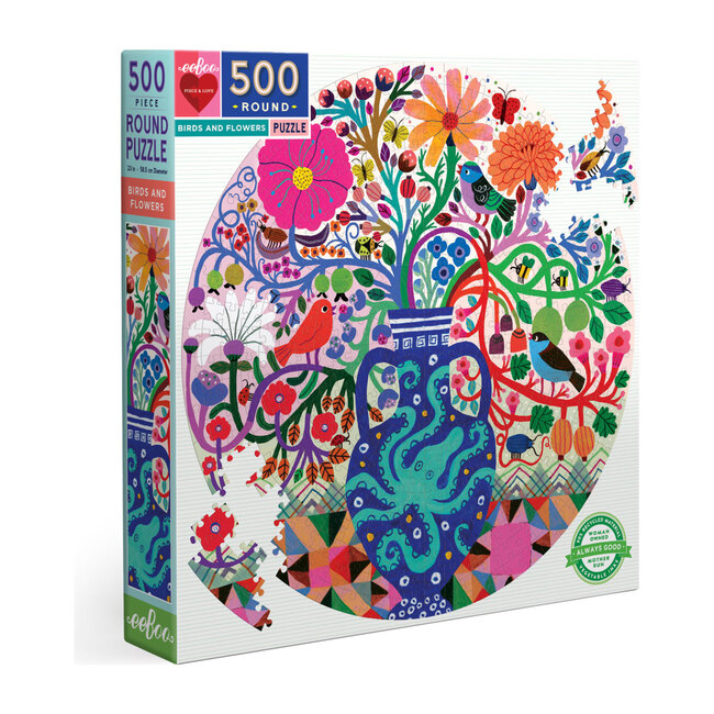 Birds & Flowers 500 Piece Round Puzzle
