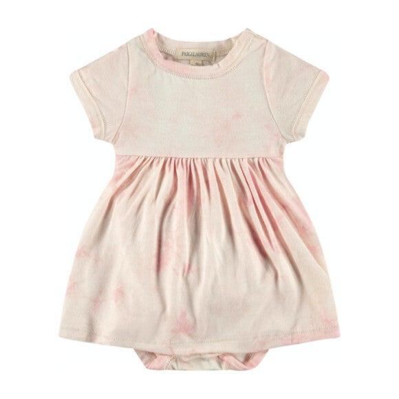 Baby Tie Dye S/S Dress Bodysuit, Pink