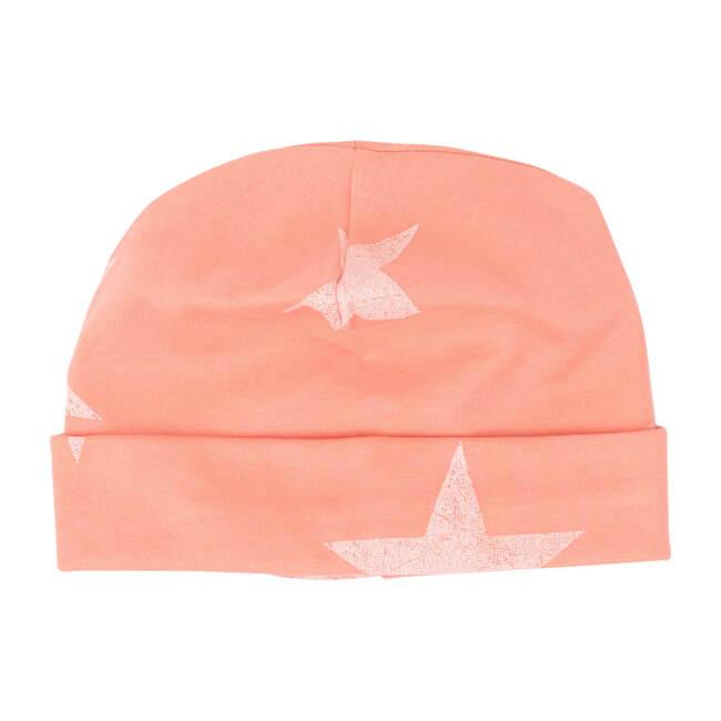Peach Fabric White Wash Star Receiving Hat
