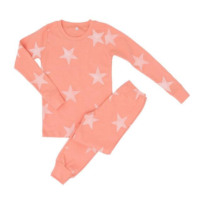 Peach Fabric White Wash Star Two Piece Pajama