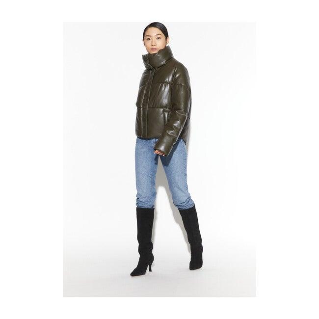 Women's Jemma Vegan Leather Puffer, Army Green
