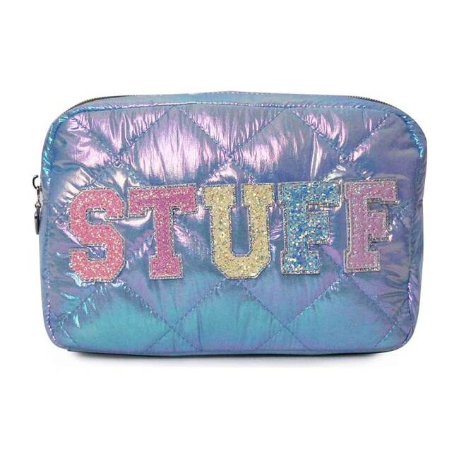 STUFF Puffy Quilted Blue Cosmetic Pouch, Blue