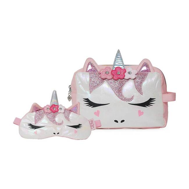Miss Gwen Flower Crown Cosmetic Pouch & Sleep Mask Set, Pink