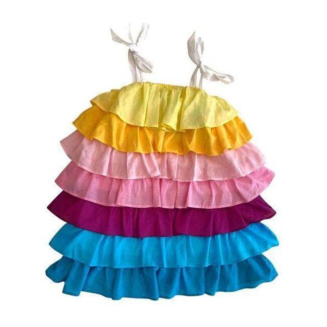 Linen Ruffle Sun Dress, Multi