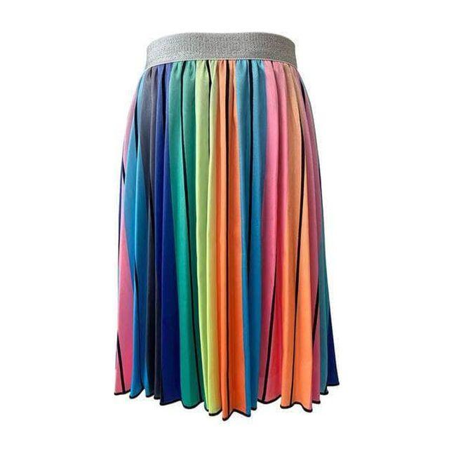 Striped Midi Skirt, Rainbow
