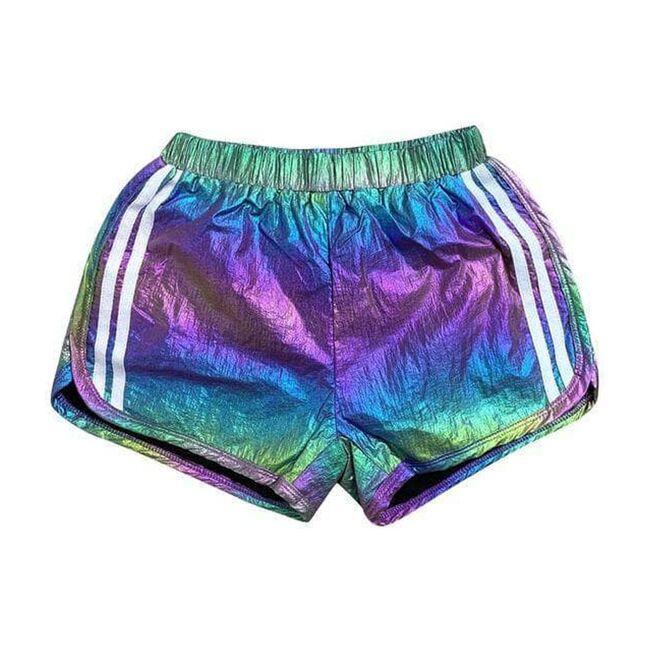 Racer Metallic Track Shorts, Rainbow