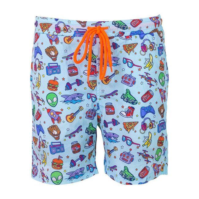 Alien Doodle Swim Shorts, Blue