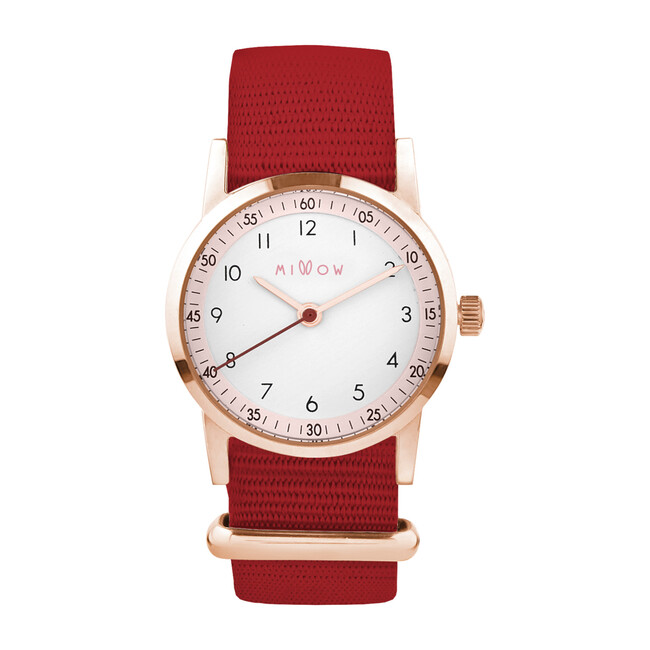 Millow Blossom Watch, Red and Rose Gold