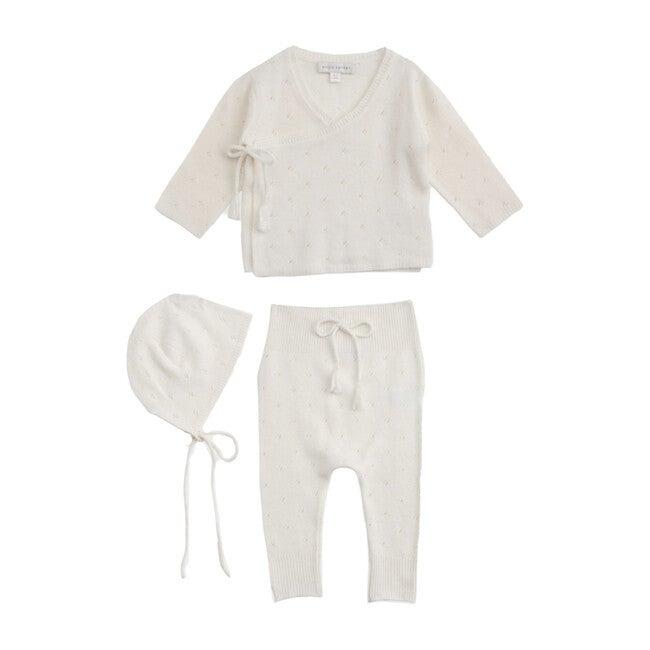 Pointelle Wrap Top, Leggings & Bonnet Set, Snow White