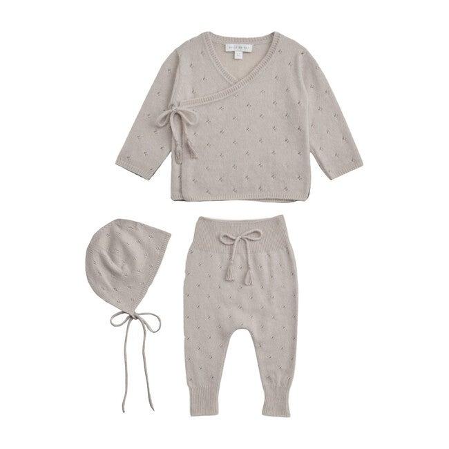 Pointelle Wrap Top, Leggings & Bonnet Set, Albaster