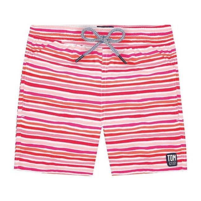 Boys Stripe Swim Trunk, Sunset