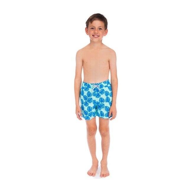 Boys Monstera Leaf Swim Trunk, Pale Green