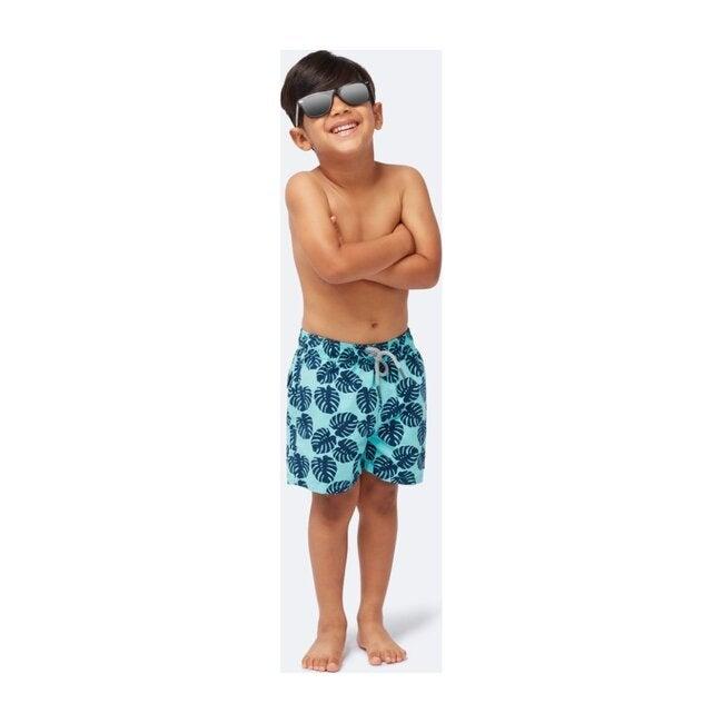 Boys Monstera Leaf Swim Trunk, Aqua