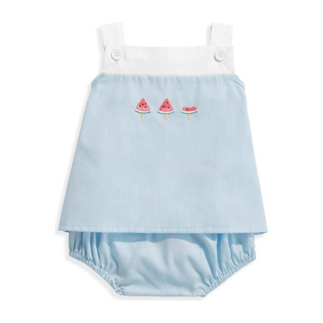 Embroidered Watermelon Swing Set, Blue Pique