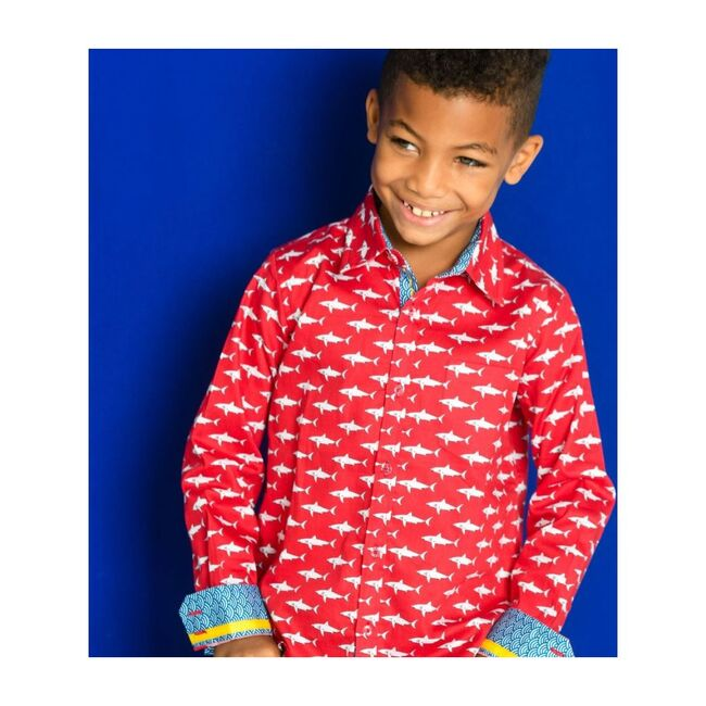 Mako Sharks Shirt Long Sleeve, Red