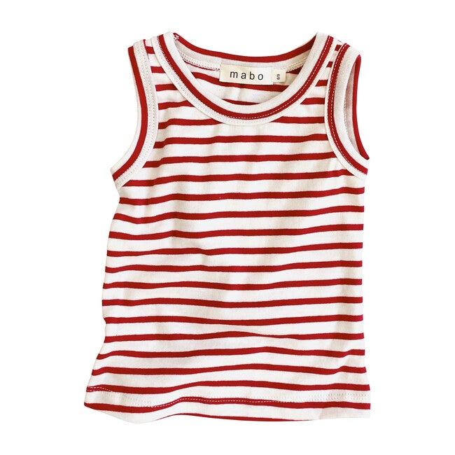 Organic Cotton Tank Top, Natural & Scarlet Stripe