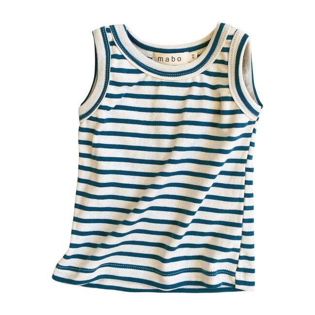 Organic Cotton Tank Top, Natural & Azure Stripe