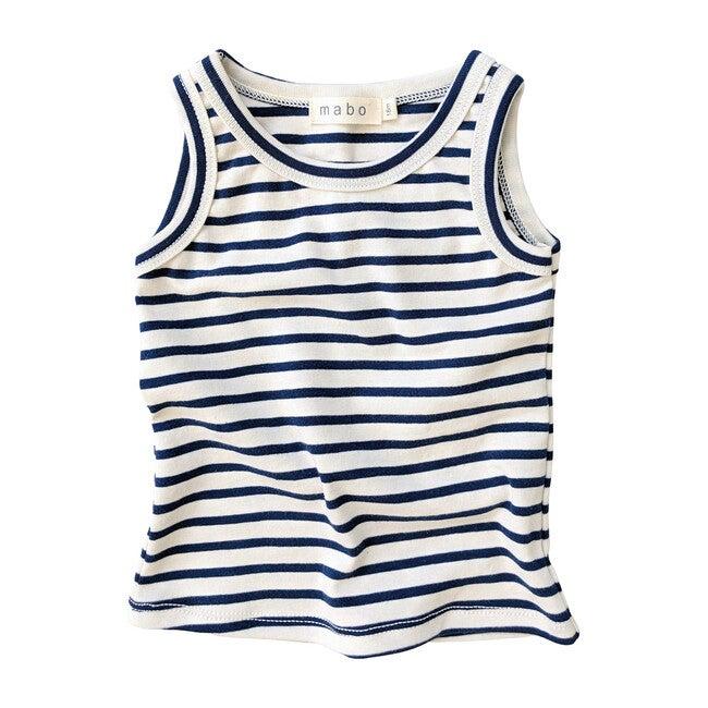 Organic Cotton Tank Top, Natural & Blue Stripe