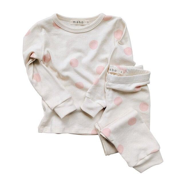 Organic Cotton Spotted Pajamas, Pink Dot