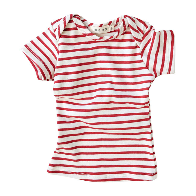 Organic Cotton Lap Tee Short Sleeve Striped nautical tee, Natural & Scarlet