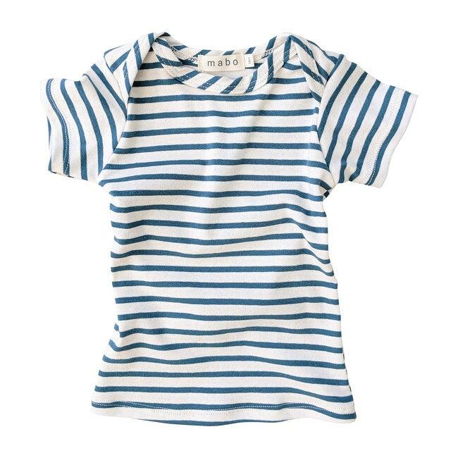 Organic Cotton Lap Tee Short Sleeve Striped nautical tee, Natural & Azure