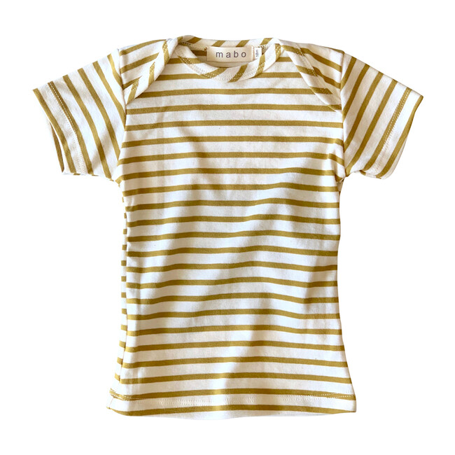 Organic Cotton Lap Tee Short Sleeve Striped nautical tee, Natural & Chartreuse