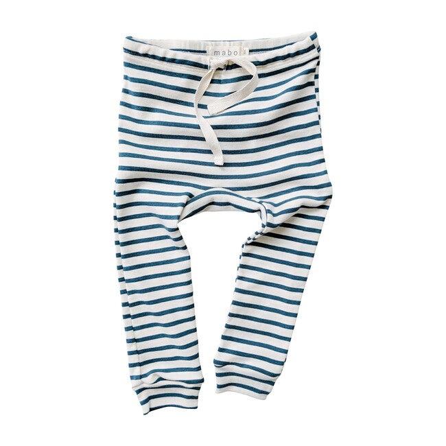 Organic Cotton Drawstring Striped Leggings, Natural & Azure