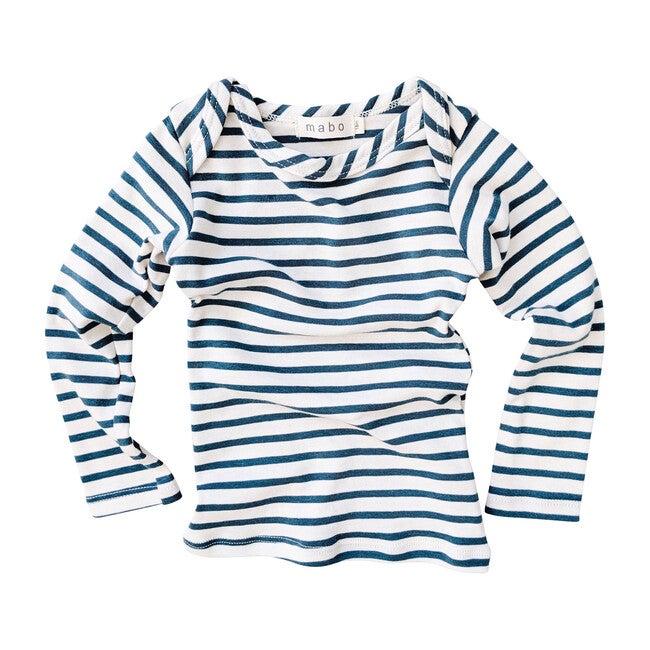 Organic Cotton Striped Nautical Tees, Natural & Azure