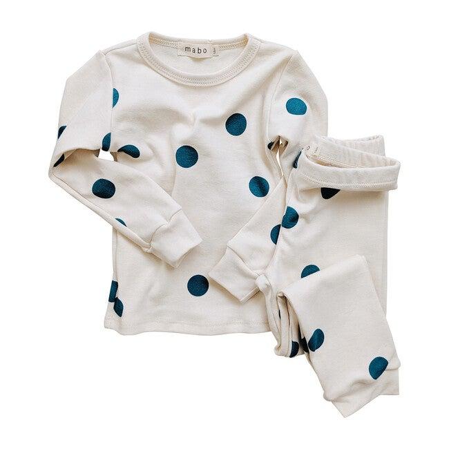 Organic Cotton Spotted Pajamas, Teal Dot
