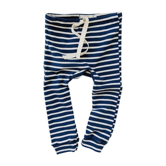 Organic Cotton Drawstring Striped Leggings, Blue & Natural