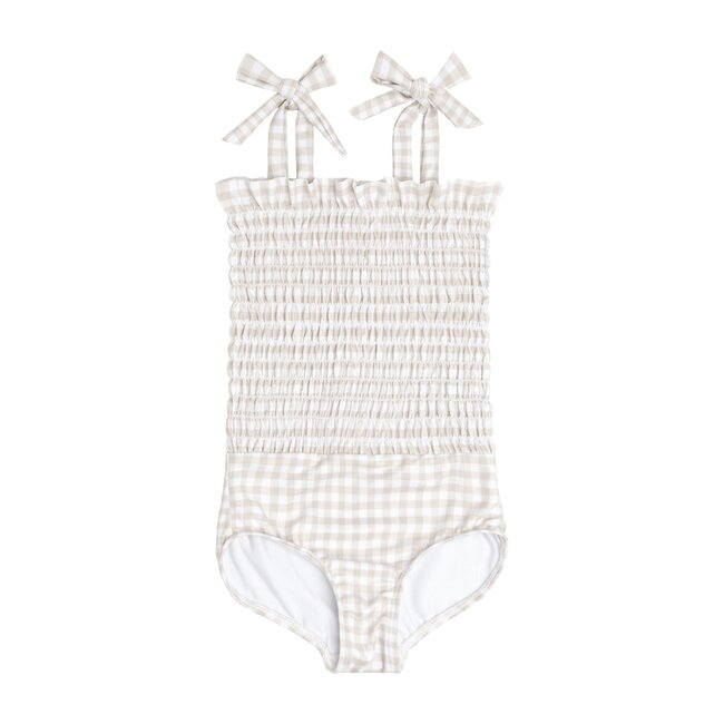 Tan Gingham Smocked One Piece