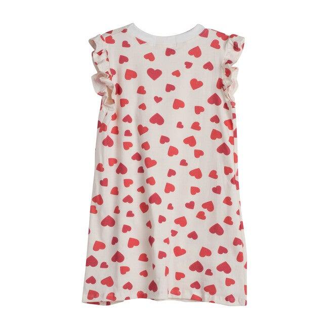 Red Hearts Flutter Sleeve Loungewear Dress