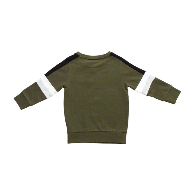 Colorblock Stripe Pullover, Olive