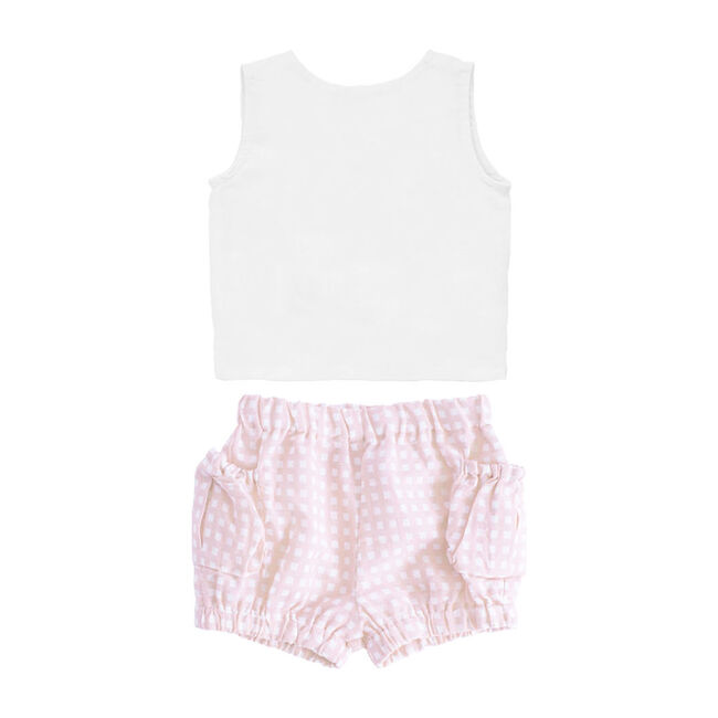 Three Bow Sleeveless Blouse & Shorts Gift Set, Dusty Pink Gingham