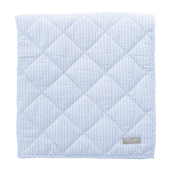 Reversible Play Mat, Pale Blue Gingham and White Linen