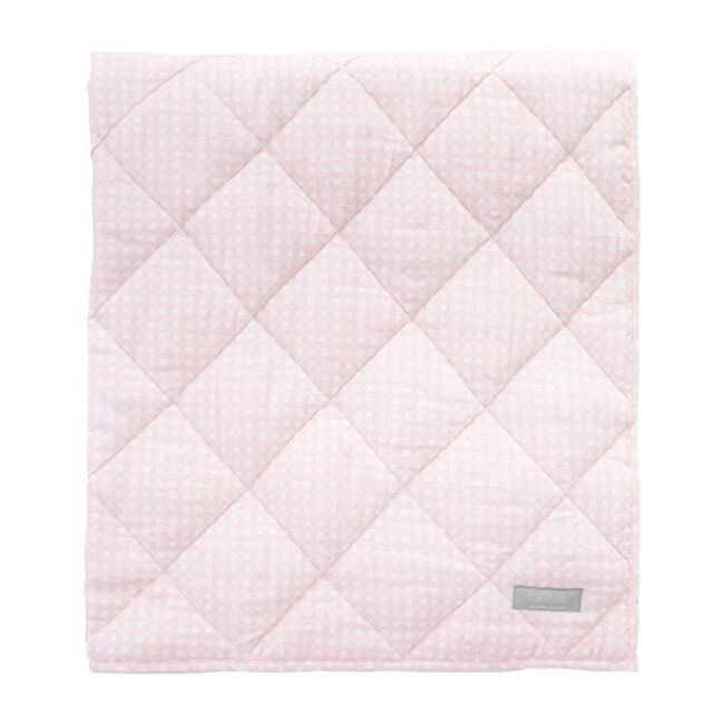 Reversible Play Mat, Dusty Pink Gingham and White Linen