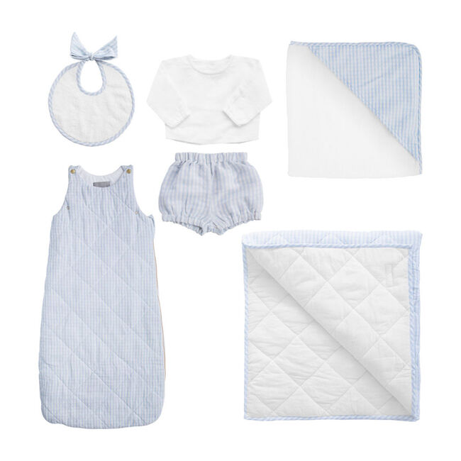 *Exclusive* Luxe Baby Gift Set, Pale Blue Gingham
