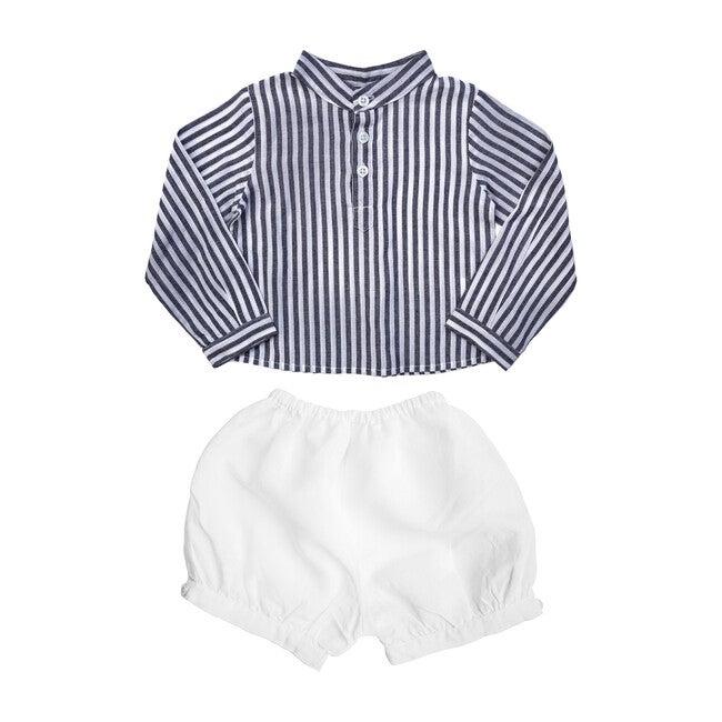 Harbor Island Stripe Shirt and White Linen Short Gift Set