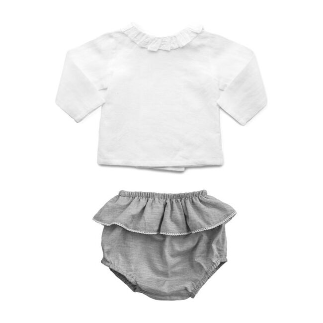 Double Button Blouse & Bloomer Gift Set, Summer Grey Linen