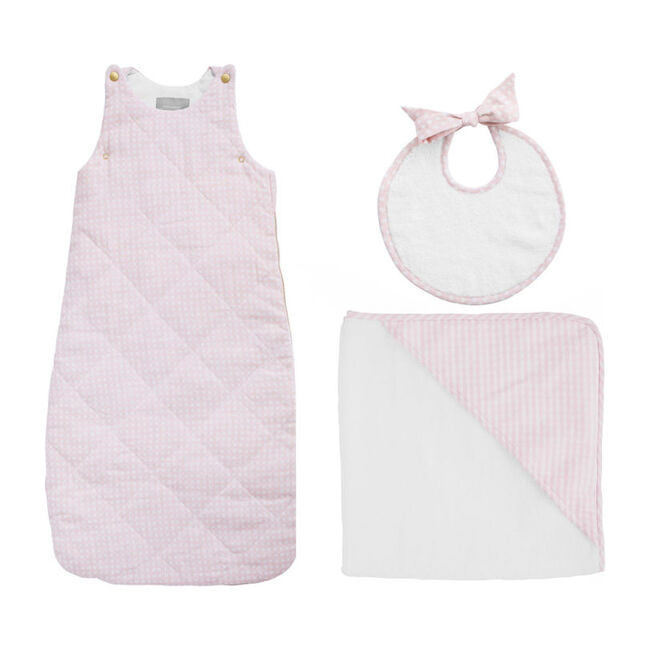 Bedtime Gift Set, Dusty Pink Gingham - Mixed Apparel Set - 1 - zoom