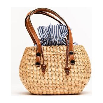 Handwoven Mini tote, Coastal stripe
