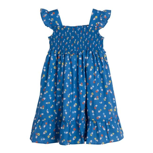 Daria Dress, Blue Flower Pots