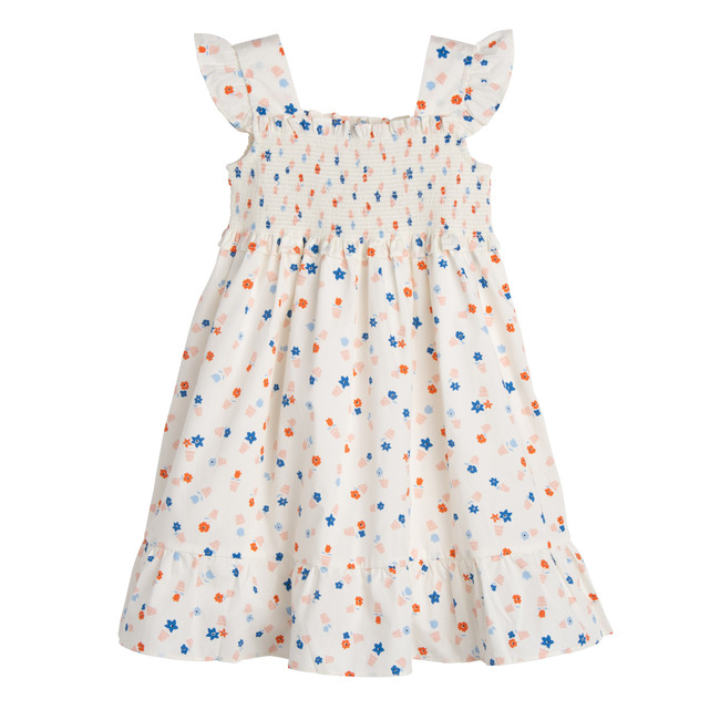 Daria Dress, White Flower Pots