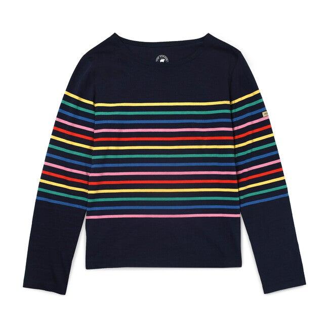Women's Striped Tee, Navy/Rainbow