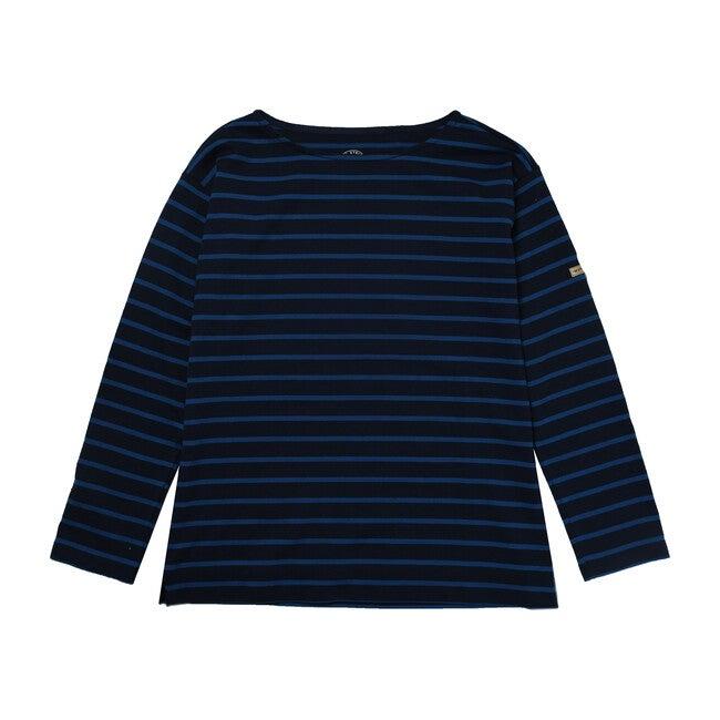 Women's Breton Stripe Top, Navy/Cobalt
