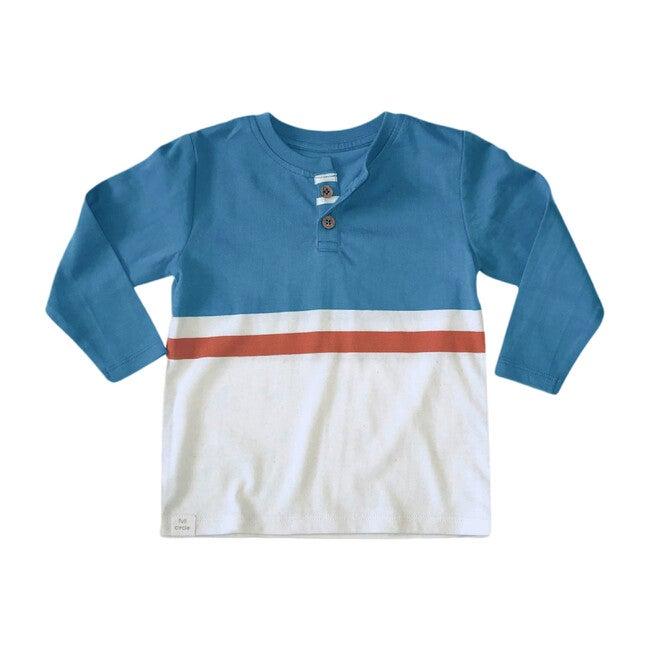 Long Sleeve Stripe Henley, Blue - Tees - 1